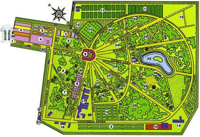 Схема ботанического сада  г. Минск  Беларусь