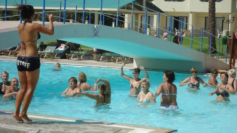 Аква-аэробика в отеле Olympos Beach 4*  остров Родос  Греция