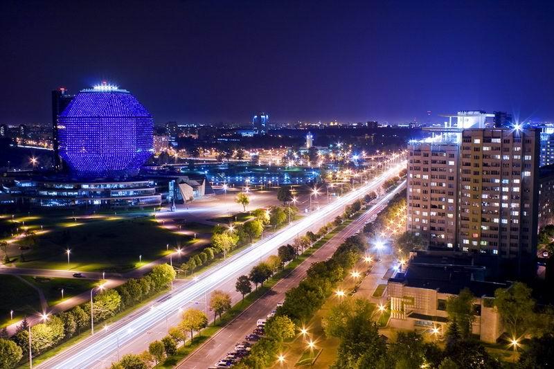 С заходом солнца на фасадах библиотеки включают цветодиодную подсветку  BR Национальная библиотека Беларуси  г. Минск  Беларусь