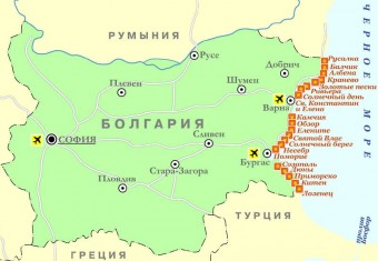 Карта курортов в Болгарии